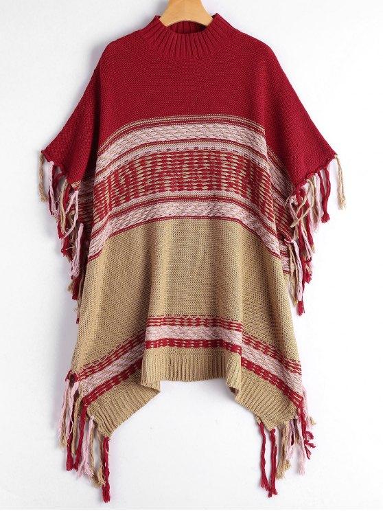 Mock Neck Fringe Poncho Sweater - Vermelho Tamanho único