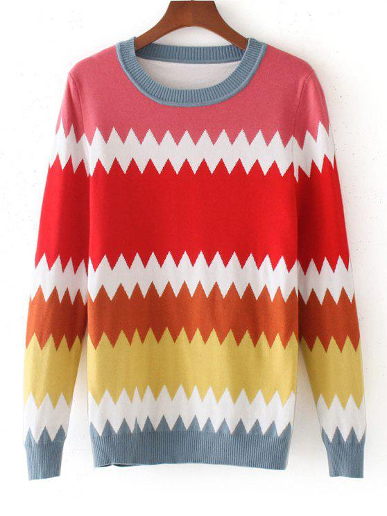hot Color Block Zig Zag Sweater - MULTICOLOR ONE SIZE