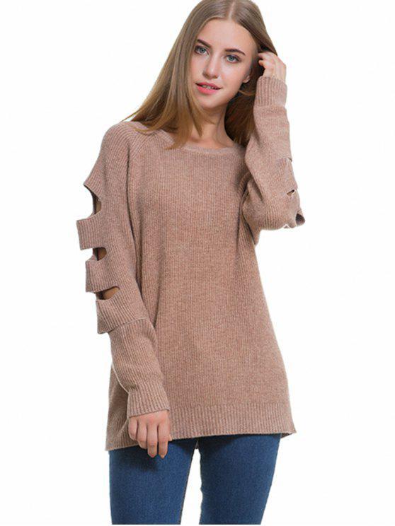 Raglan Sleeve Cutout Sweater - Caqui Tamanho único