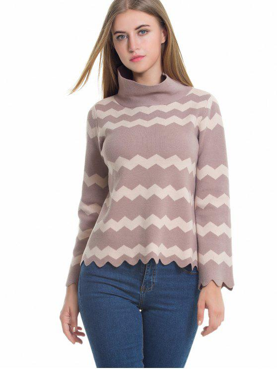 fashion Zig Zag Scalloped Turtleneck Knitwear - CARD APRICOT ONE SIZE