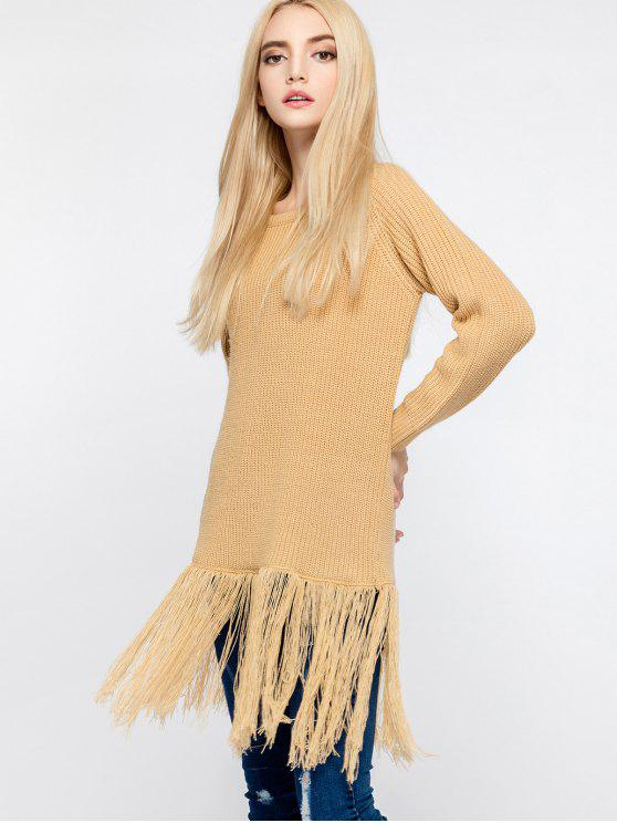 chic Raglan Sleeve Longline Tassels Sweater - YELLOW ONE SIZE