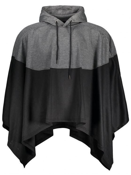 lady Mens Two Tone Cape Hoodie - BLACK AND GREY L