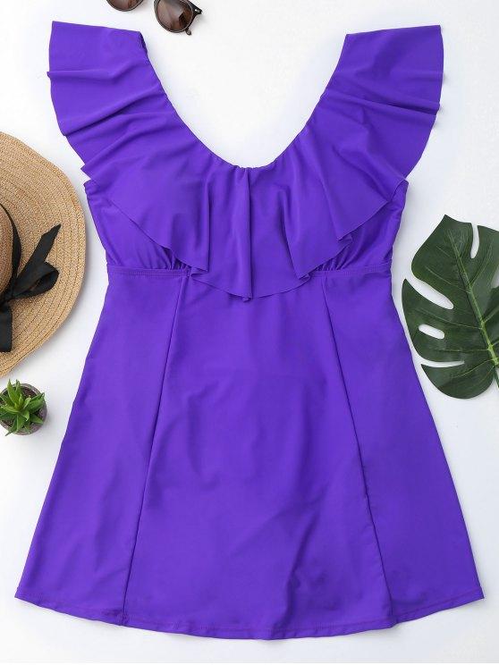 Ruffles Plus Size Traje de baño con falda - Púrpura XL