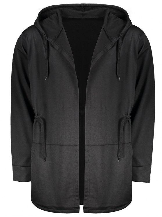 lady Drawstring Open Front Hooded Coat - BLACK XL