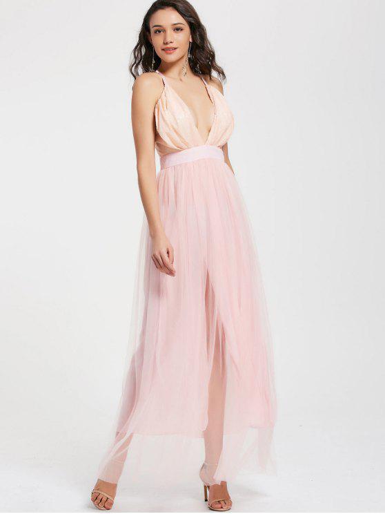 Sequins plunge cuello Tulle Maxi vestido de baile - Rosado Claro S