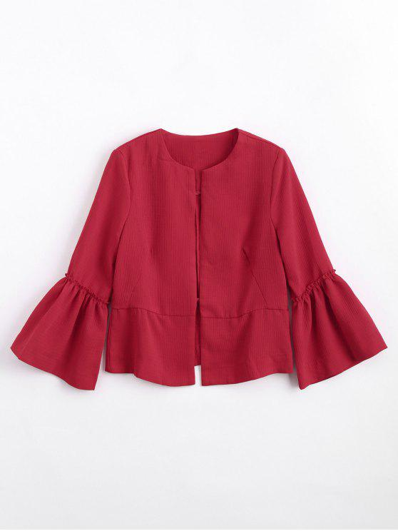 women Flounces Flare Sleeve Open Front Blazer - RED M