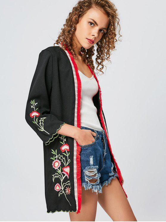 Scalloped floral embroidered tassel kimono black blouses