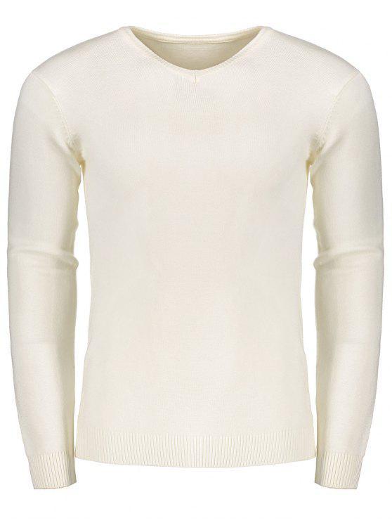 Pull à Encolure V - Blanc XL