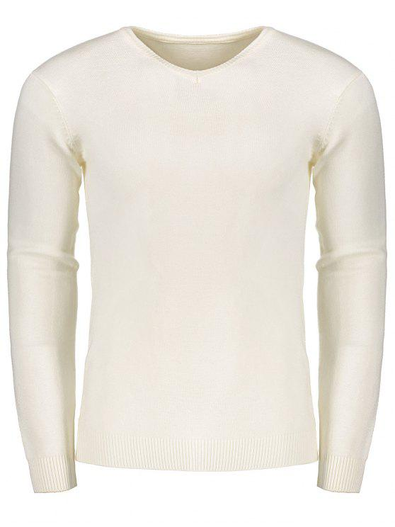 fashion V Neck Sweater - WHITE M