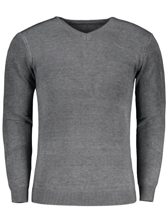 V-Ausschnitt-Sweater - Grau L
