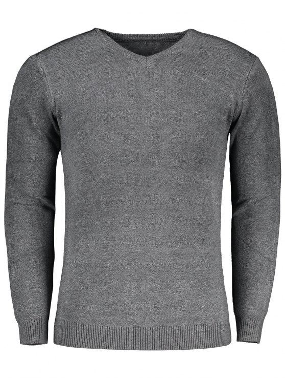 unique V Neck Sweater - GRAY M