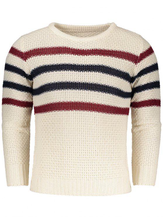 Chunky Striped Pullover - Beige  L