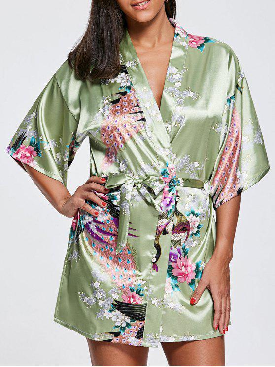 الطاووس الحرير كيمونو بيجامة - منسم XL