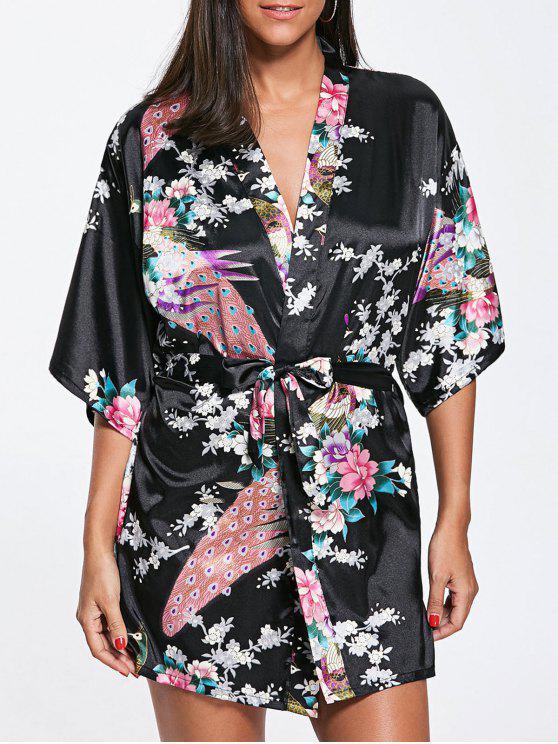 0de03ed1b 26% OFF] 2019 Peacock Floral Satén Kimono Pijama En Negro | ZAFUL España