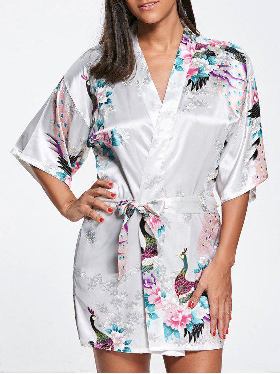 الطاووس الحرير كيمونو بيجامة - أبيض XL