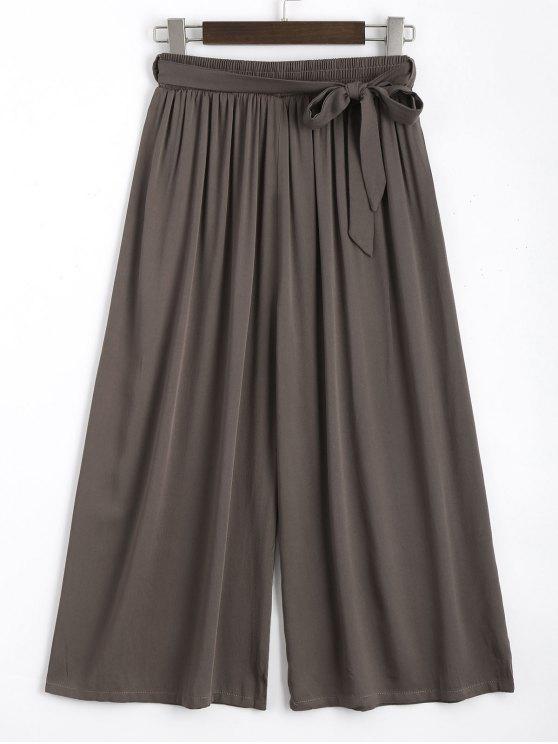 Pantalones largos con cinturón Capri - Café Única Talla