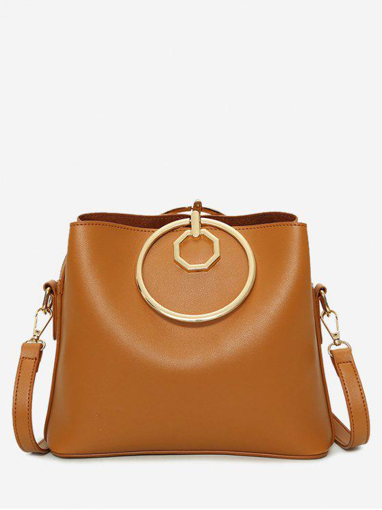 sale Faux Leather Metal Ring Tote Bag - BROWN
