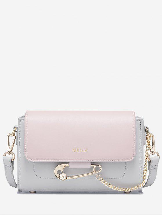 Cadeia Faux Leather Two Tone Crossbody Bag - Cor-de-rosa