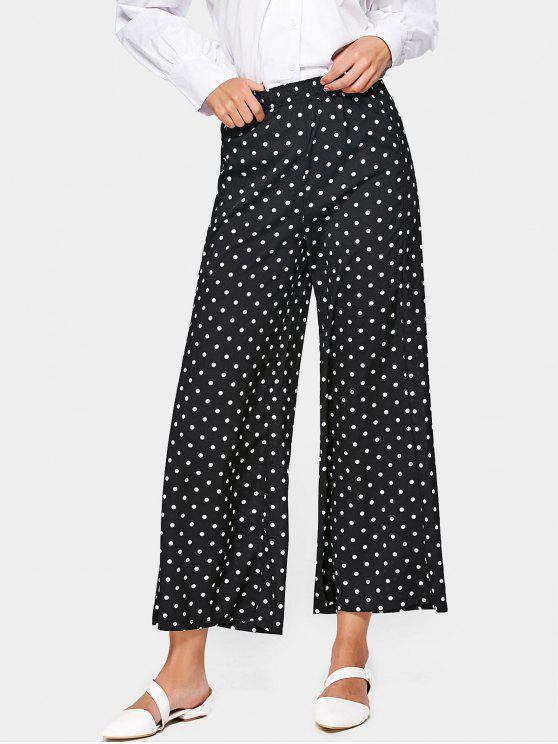 Hose mit Polka Tupfen , hoher Taille und weitem Bein - Schwarz XL