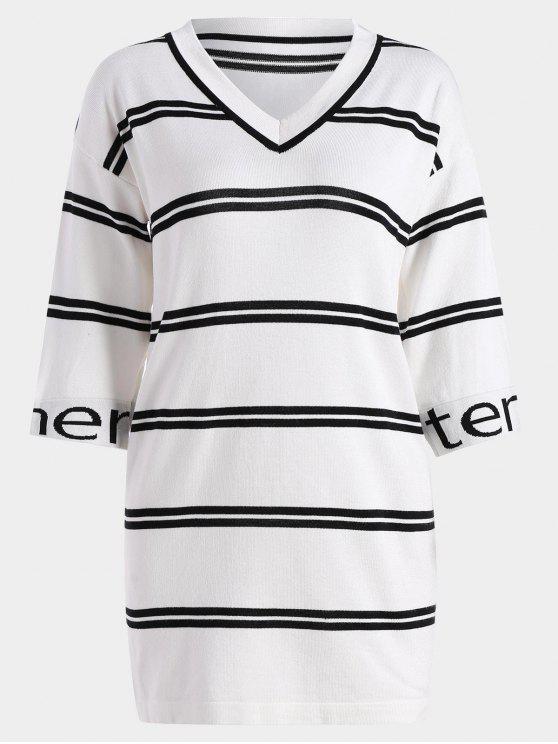 فستان طباعة الحرف مخطط محبوك مستقيم - أبيض حجم واحد
