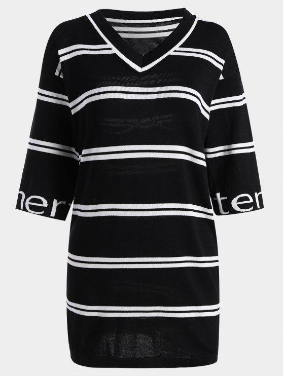 Letter Striped Knitted Shift Dress - Preto Tamanho único