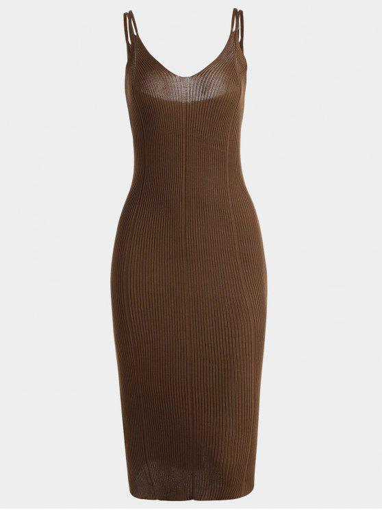 chic Plain Cami Knitted Dress - BROWN ONE SIZE
