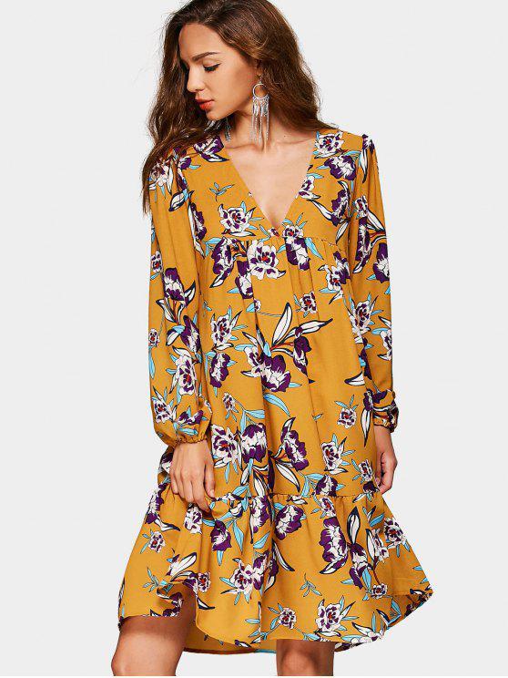 Stumpfhals Reich Taille Blumenmuster Kleid - Blumen L
