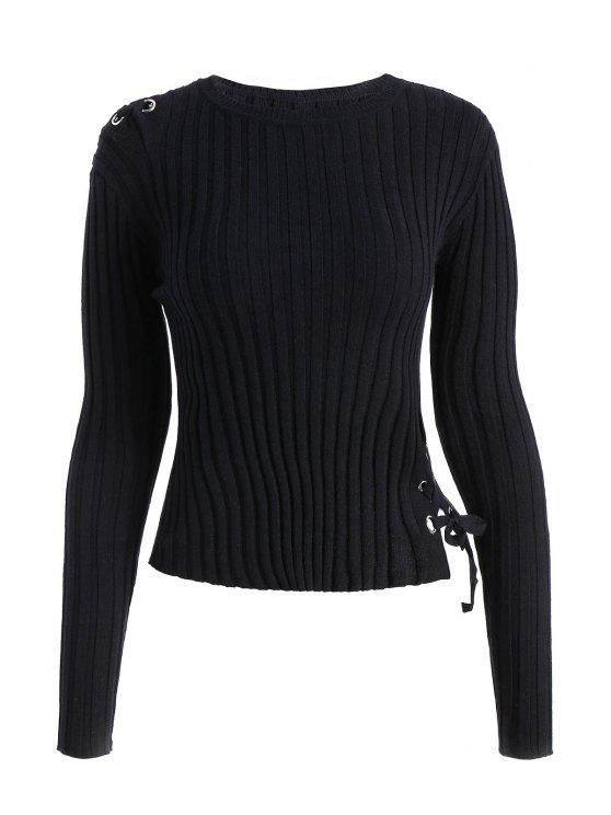 Ribbed Lace Up Pullover - Schwarz Eine Größe