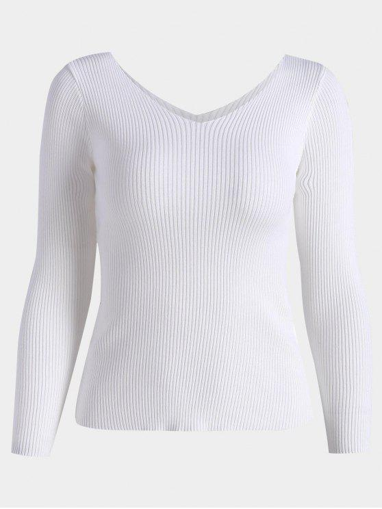 online V Neck Long Sleeve Knitted Top - WHITE ONE SIZE