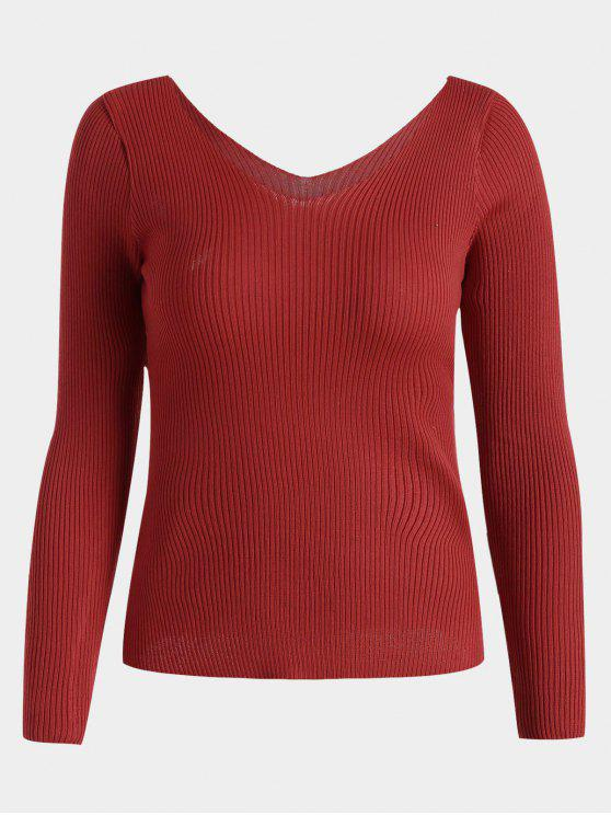 shop V Neck Long Sleeve Knitted Top - RED ONE SIZE