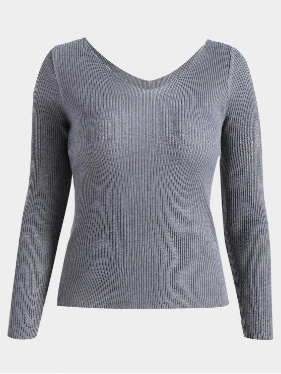 latest V Neck Long Sleeve Knitted Top - GRAY ONE SIZE