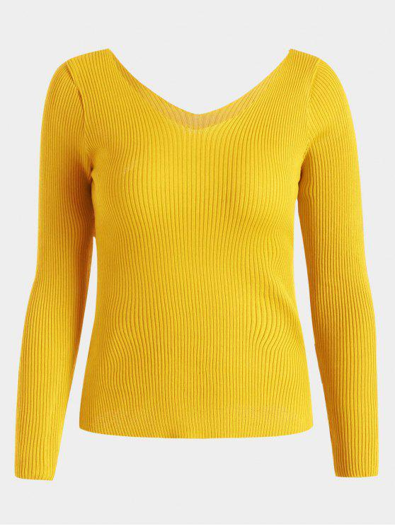 chic V Neck Long Sleeve Knitted Top - YELLOW ONE SIZE