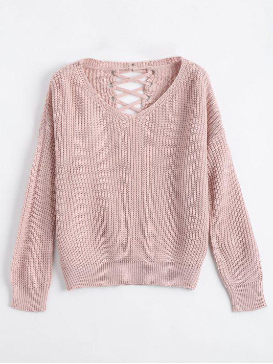 outfit Drop Shoulder Lace Up Chunky Sweater - NUDE PINK ONE SIZE