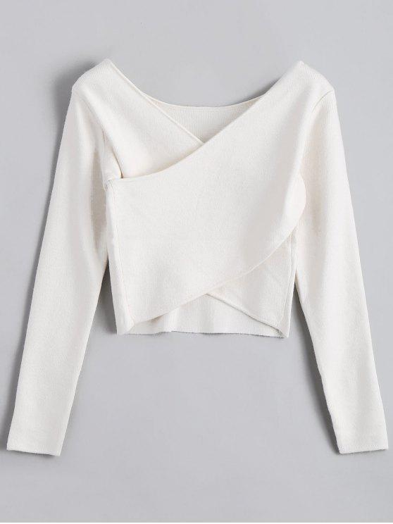 online V Neck Overlap Crop Sweater - WHITE ONE SIZE