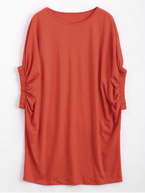 Vestito casuale dal manicotto del Batwing del manicotto - Arancione Rosa L