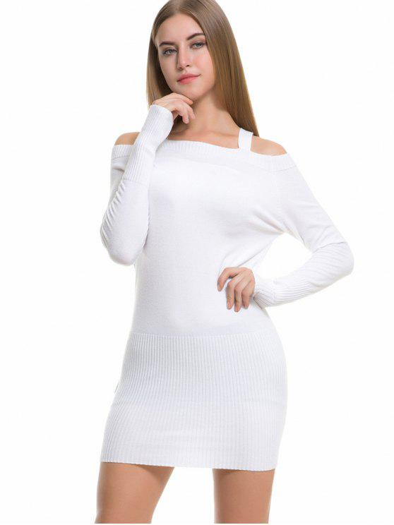 5f46a630aa 28% OFF  2019 Long Sleeve Cold Shoulder Sweater Dress In WHITE ONE ...