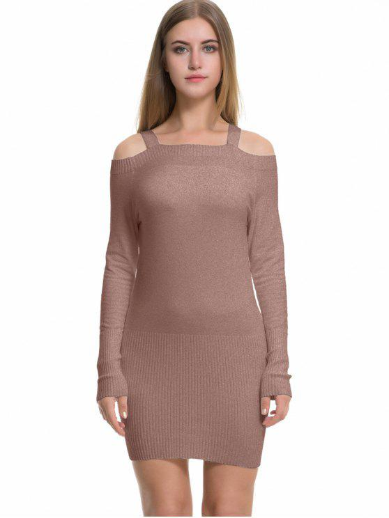 d51c0aecfb7c 37% OFF  2019 Long Sleeve Cold Shoulder Sweater Dress In KHAKI