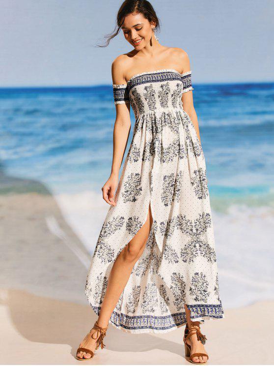 shop Printed Off Shoulder Smocked Maxi Beach Dress - WHITE L