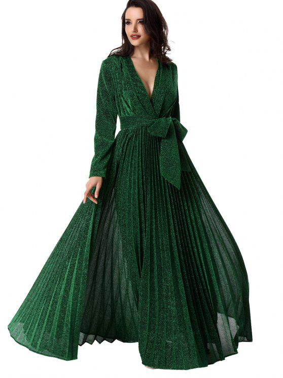 fashion Plunging Neck Glitter Pleated Belted Prom Dress - GREEN S