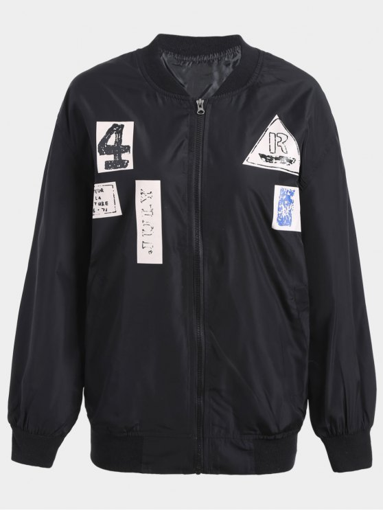 lady Plus Size Graphic Bomber Jacket - BLACK 2XL