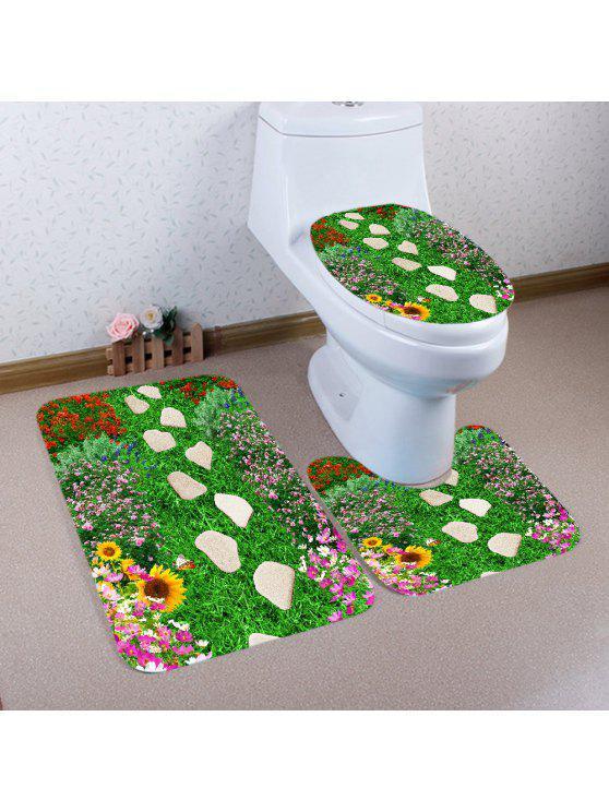 3 قطع عدم الانزلاق الأحجار الزهور المراعي حمام المرحاض حصيرة مجموعة - أخضر