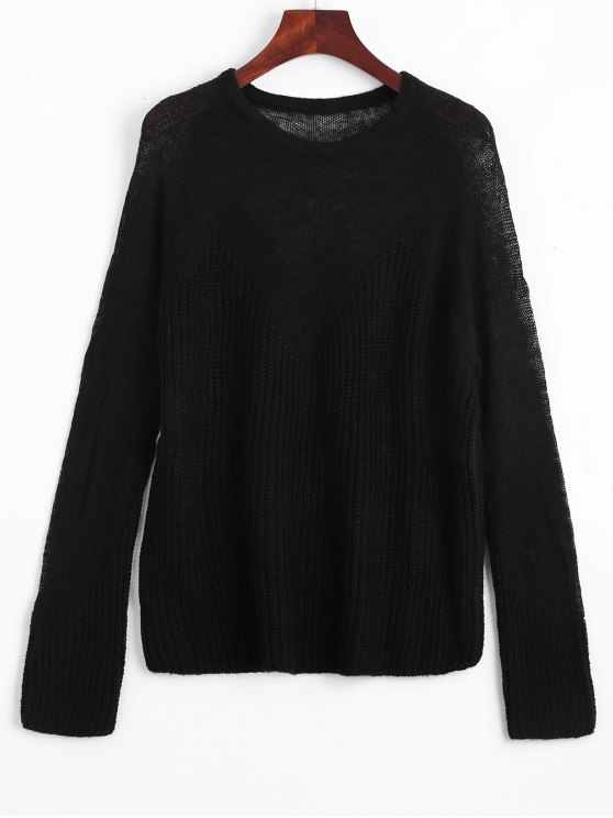 shop See Thru Voile Panel Sweater - BLACK ONE SIZE