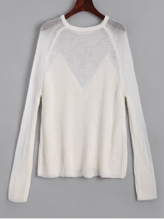 outfits See Thru Voile Panel Sweater - WHITE ONE SIZE