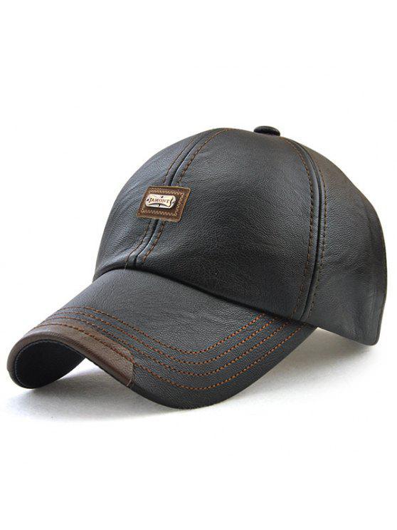 خطابات معدنية منمق فو الجلود قبعة بيسبول - أسود