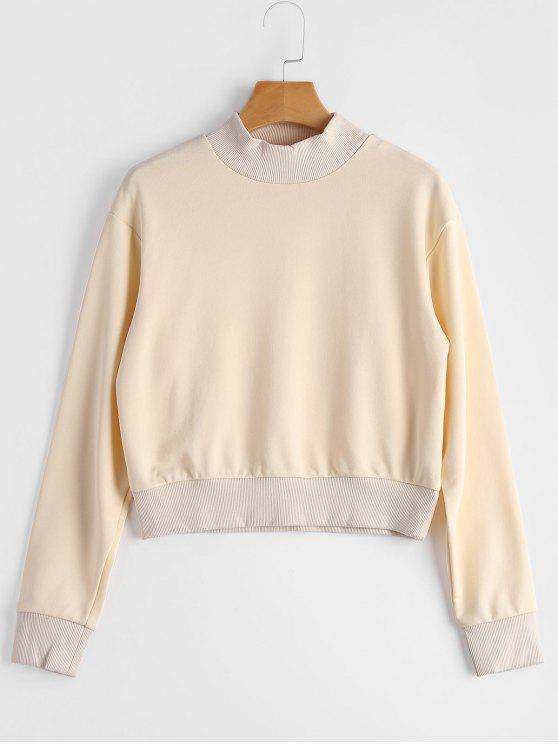 shops High Neck Cropped Sweatshirt - BEIGE S