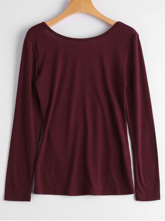 fancy Long Sleeve Backless T-shirt - WINE RED S
