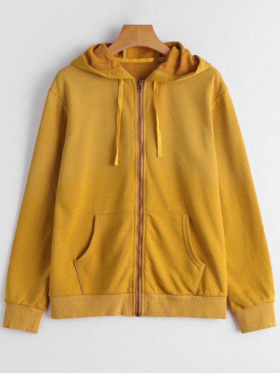 best Long Sleeve Full Zip Hoodie - GINGER 2XL