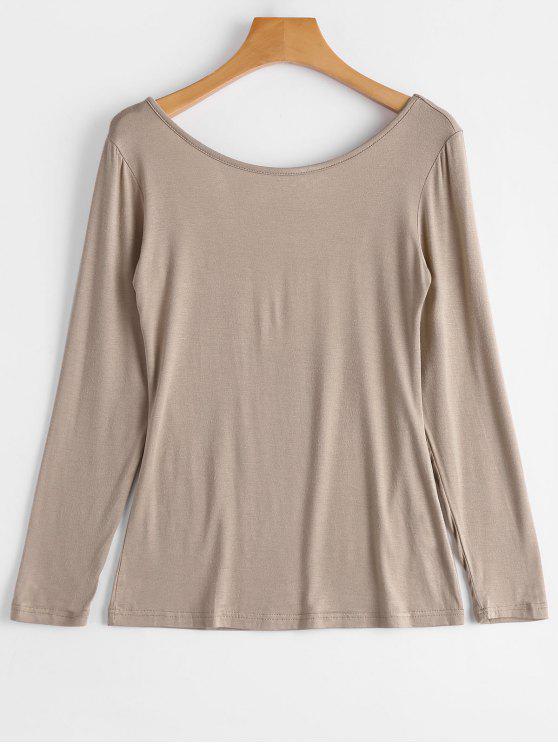outfits Long Sleeve Backless T-shirt - KHAKI S