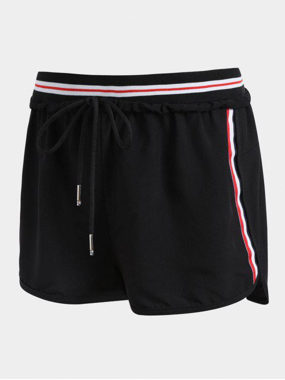 fancy Striped Double Layered Sporty Shorts - BLACK M