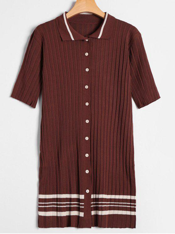 Robe Tricotée Boutonnée à Rayures - café TAILLE MOYENNE